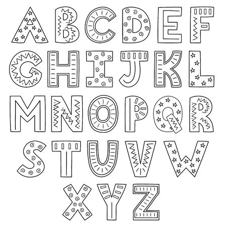 Black and white alphabet. Hand drawn outline ABC.