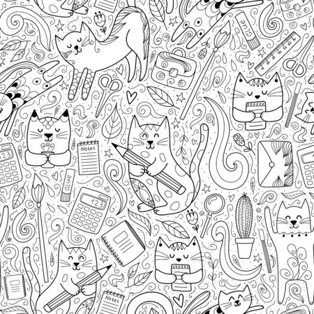 Cats go to school funny seamless pattern. Coloring page for adults and children.