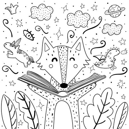 Magic in the books coloring page with cute wolf. Black and white background for adults and children. Illustration