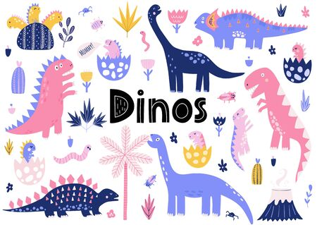 Cute dinosaurs collection with their baby dinos. Diplodocus, Tyrannosaurus rex, Stegosaurus. Funny prehistoric characters collection. Vector illustration Vectores