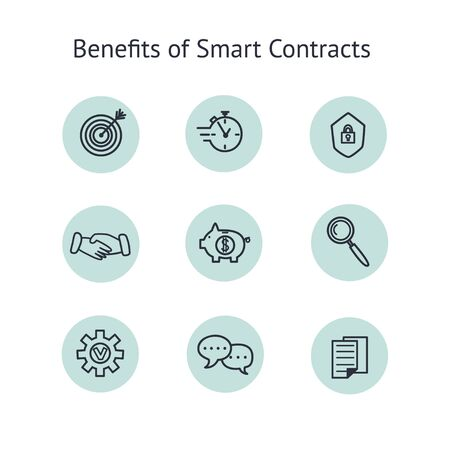 Benefits of smart contract icons set. Collection of line art elements of advantages of blockchain technology. Vector illustration Stok Fotoğraf - 137738567