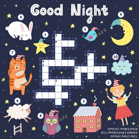 Good Night crossword game for kids. Sweet dreams find word puzzle. Logical printable activity for children. Sleeping moon, star, rabbit, cat, sheep, owl, bird, fairy house. Vector illustration