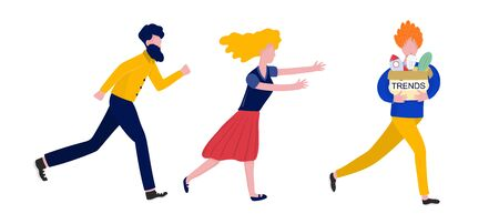 Chasing trends concept with people. Running men and woman. Vector illustration
