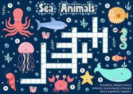 Juego de crucigramas de animales marinos para niños. Ficha de actividades lógicas subacuáticas para escolares y preescolares. Hoja de trabajo imprimible colorida para niños. Ilustración vectorial