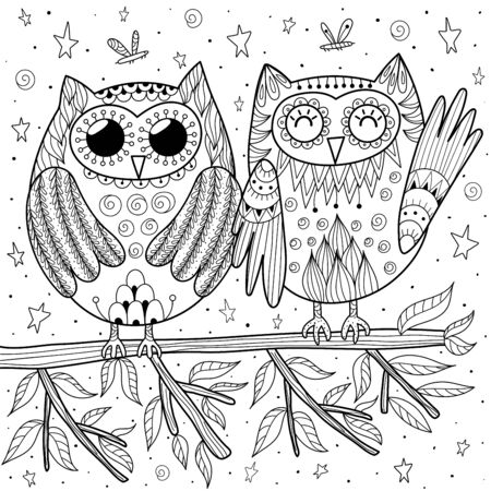 Couple of funny owls sitting on the branch coloring page for adults and kids. Zen art. Vector illustration Foto de archivo - 137747698