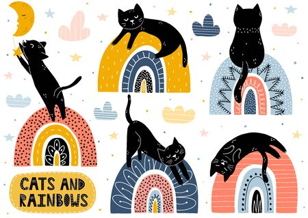 Cats and rainbows collection. Fantasy isolated elements set with cute characters. Black kitten catching a star, sleeping, sitting, stretching and dreaming in the sky. Vector illustration Foto de archivo - 137739133