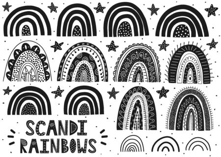 Scandinavian rainbows set. Cute fantasy clipart. Black and white collection of isolated elements. Vector illustration Foto de archivo - 137747707