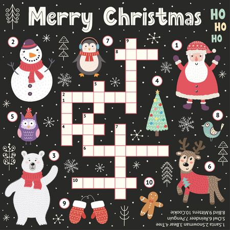 Christmas crossword game for kids. Holidays educational activity search word