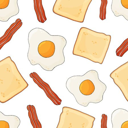 Bacon, scrambled eggs and toast seamless pattern. English breakfast background