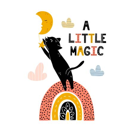 A little magic print with a cute black cat standing on rainbow and catching the star Foto de archivo - 137739221