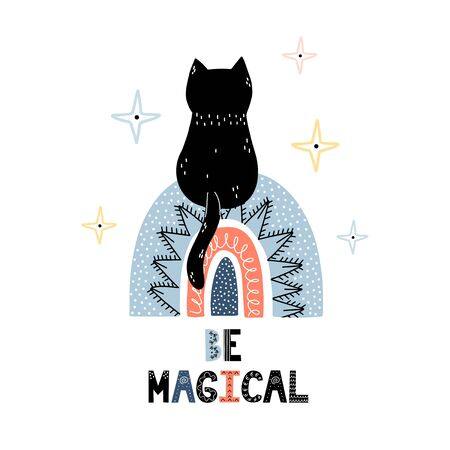 Be magical print with a cute black cat sitting on a rainbow. Cosmic trendy print for kids Foto de archivo - 137740145