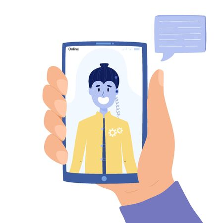 Man chatting with chatbot on mobile phone concept. Çizim