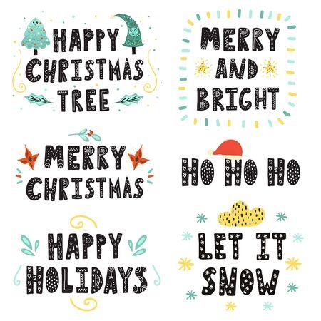 Conjunto de letras de Navidad. Colección de citas dibujadas a mano. Felices vacaciones, Que nieve, Ho ho ho y otras frases. Ilustración vectorial
