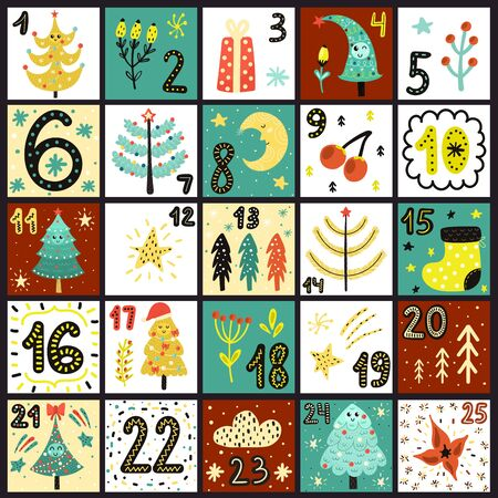 Advent calendar. Count days to Christmas poster Foto de archivo - 138294663