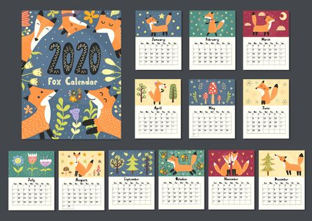 Awesome fox calendar for 2020 year. Twelve months background
