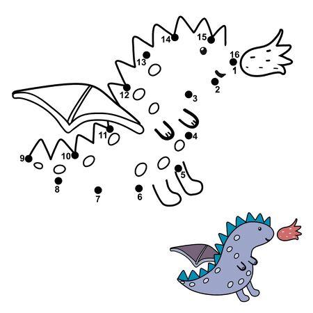Conecta los puntos y dibuja un pequeño dragón lindo.