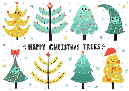 Happy Christmas trees collection. Cute isolated elements
