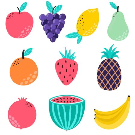 Hand drawn fruits collection. Isolated elements set