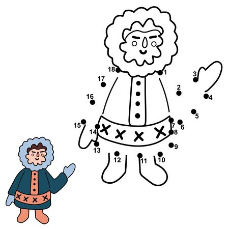 Connect the dots and draw a funny north man Ilustrace