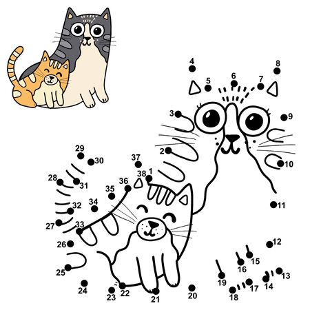 Dot to dot puzzle for kids with cute cats - mother and her baby