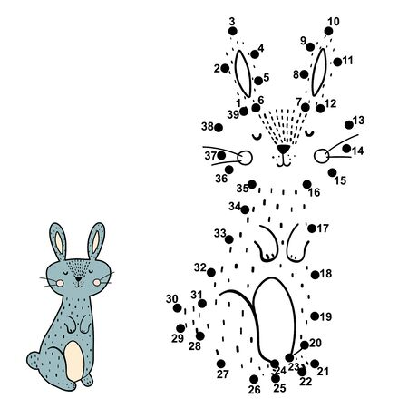 Dot to dot game for kids. Connect the numbers and drawn a cute rabbit Векторная Иллюстрация
