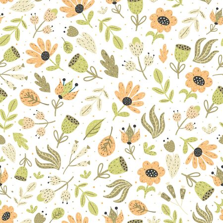 Amazing flowers seamless pattern. Floral background with plants