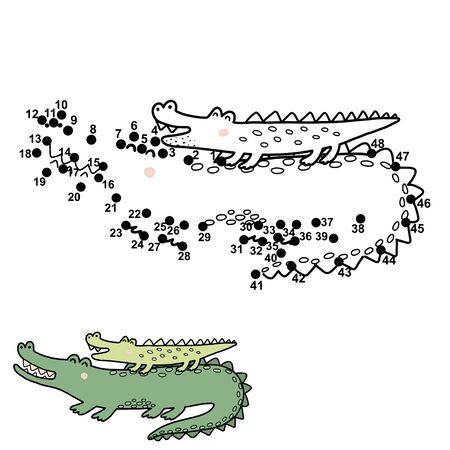 Numbers game for kids with funny crocodiles - mother and her baby