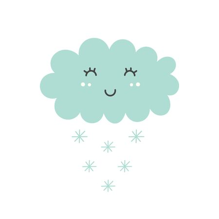 Cute snowy cloud isolated element. Kids design Çizim