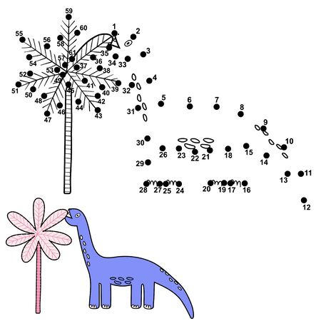 Dot to dot game for kids with cute dinosaur eating a palm leave Ilustrace