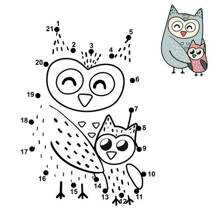 Dot to dot game for children with a cute mother owl and her baby