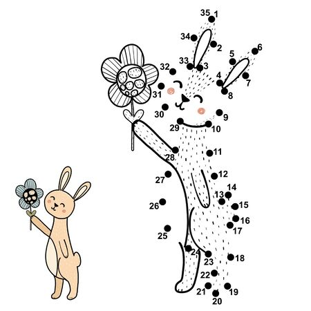 Connect the dots, draw and color a cute baby rabbit with a flower