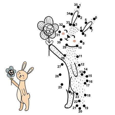Relie les points, dessine et colorie un joli bébé lapin avec une fleur