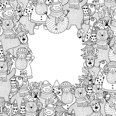 Black and white Christmas frame in coloring page style Çizim
