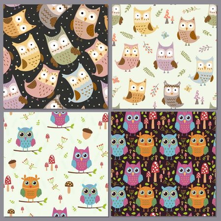 Cute owls seamless patterns set. Funny animals backgrounds