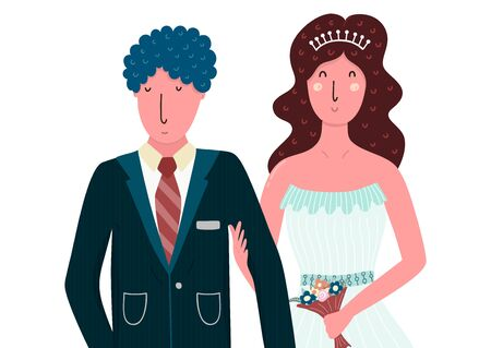 Bride and groom happy couple. Isolated people in flat style Ilustrace