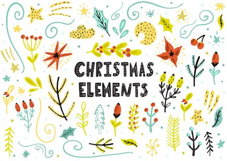 Christmas floral elements collection. Hand drawn floral objects