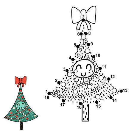 Christmas dot to dot game with a funny tree