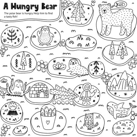 A Hungry Bear black and white labyrinth game for kids