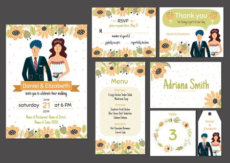 Wedding invitation template set with adorable bride and groom