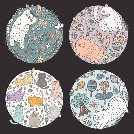 Circle shape designs with funny cats. Kids design Illusztráció