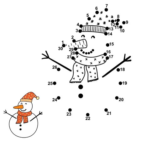 Connect the dots and draw a funny snowman
