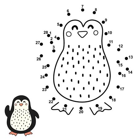 Dot to dot game for children. Connect the numbers and draw a cute penguin