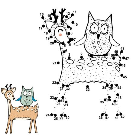 Dot to dot game for kids. Connect the digits and draw funny deer and owl Vettoriali