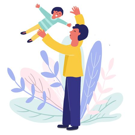 Dad throwing his son in the air Ilustração