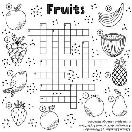 Gioco di cruciverba in bianco e nero con frutta per bambini Vettoriali