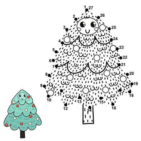 Connect the dots ands draw a funny Christmas tree
