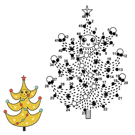 Dot to dot numbers game for kids. Connect digits, draw and color a funny Christmas tree