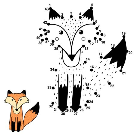 Numbers game for kids with a cute fox Vettoriali