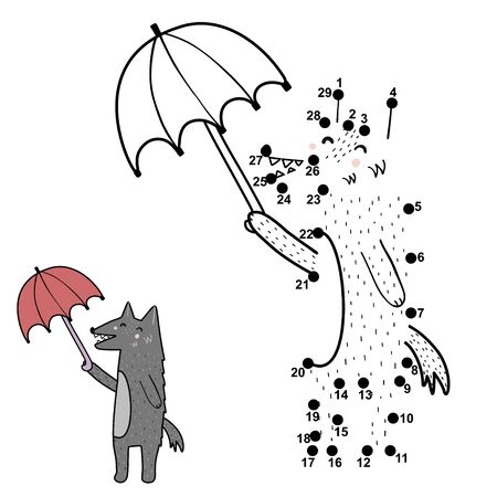 Dot to dot game activity for kids. Connect the points and draw a funny wolf with umbrella