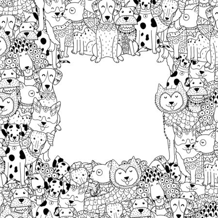 Black and white frame with funny dogs in coloring page style Illustration